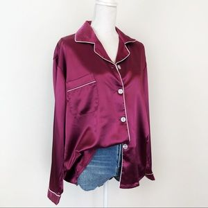 Merlot Satin Silk Feel Pajama Top Shirt ButtonUp
